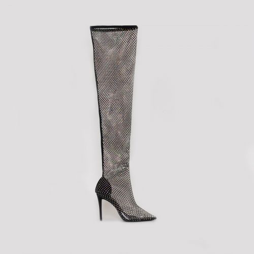 Onika Black Diamante Fishnet Thigh High Heels
