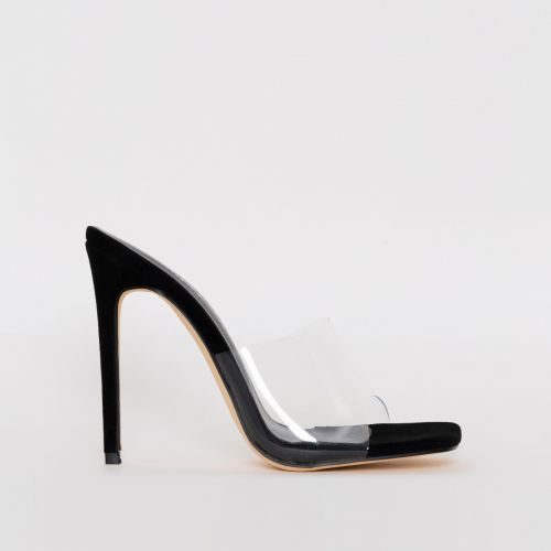 Amalie Black Suede Clear Stiletto Mule Heels