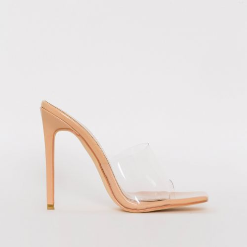 Amalie Nude Patent Clear Stiletto Mule Heels