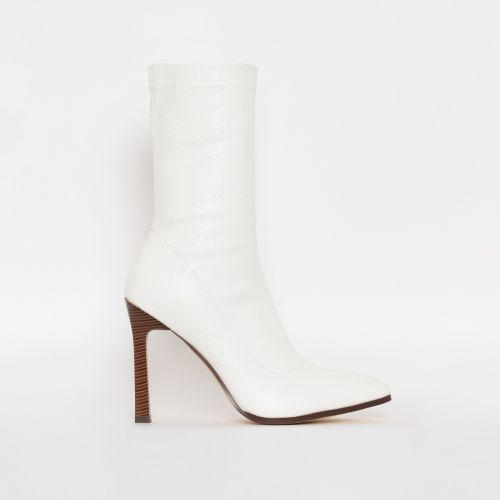 Celina White Lizard Print Stiletto Ankle Boots