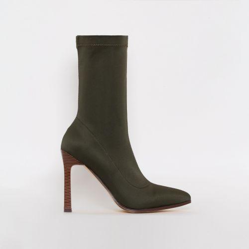 Celina Khaki Lycra Stiletto Ankle Boots