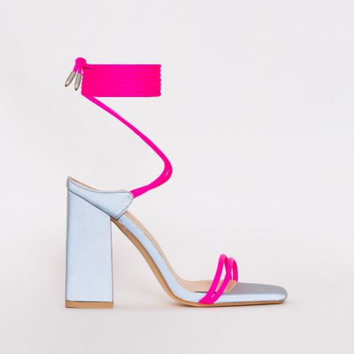 Eli Pink Lycra Reflective Lace Up Block Heels