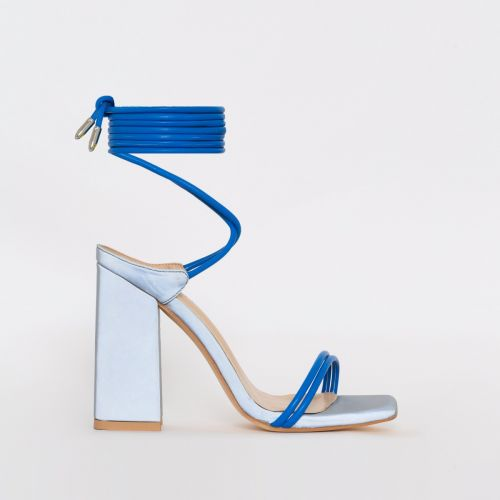 Eli Blue Reflective Lace Up Block Heels