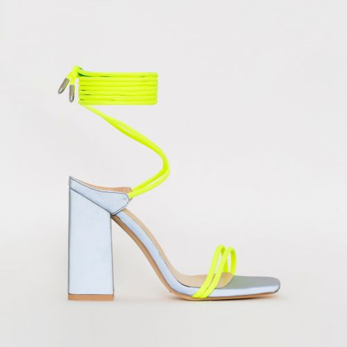 Eli Yellow Lycra Reflective Lace Up Block Heels