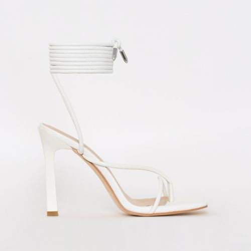 Kimani White Lizard Print Lace Up Stiletto Heels