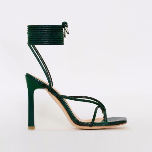 Kimani Green Lizard Print Lace Up Stiletto Heels