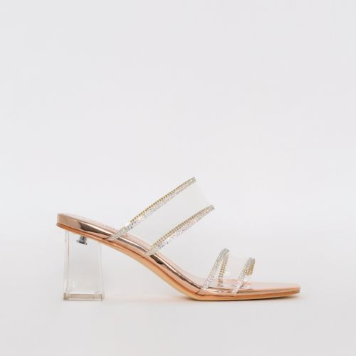 Kerri Rose Gold Mirror Clear Block Midi Heels