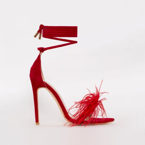 Scarlet Red Suede Feather Stiletto Heels
