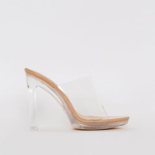 Bebo Nude Patent Clear Slim Block Mules
