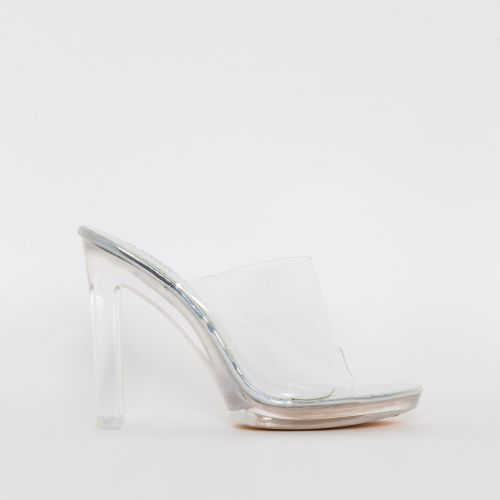 Bebo Silver Mirror Clear Slim Block Mules