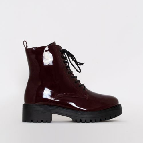 Moji Maroon Patent Lace Up Flat Ankle Boots