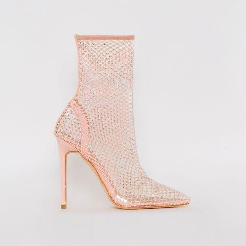 Krystal Nude Diamante Fishnet Heels
