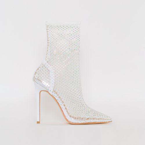 Krystal White Diamante Fishnet Heels