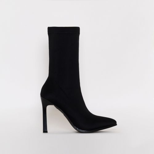 Celina Black Lycra Stiletto Ankle Boots