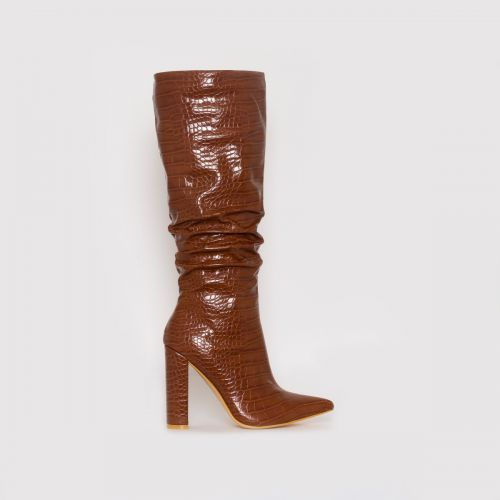 Dakota Tan Croc Print Ruched Knee Boots