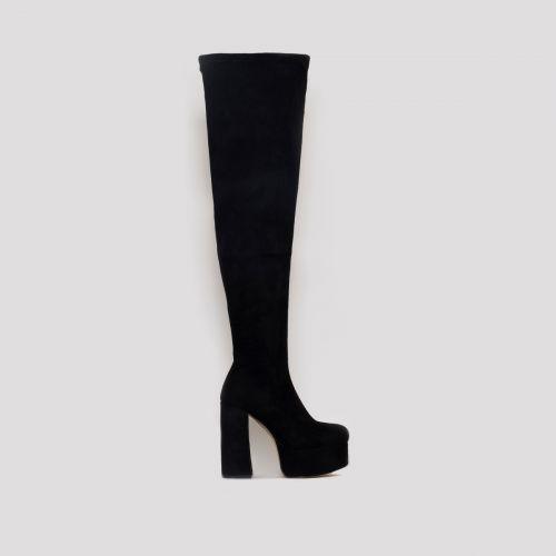 Tatiana Black Suede Chunky Platform Thigh High Boots