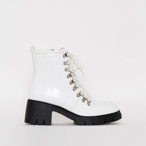 Bryony White Croc Print Lace Up Chunky Ankle Boots