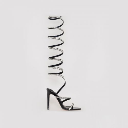 Zora Black Diamante Spiral Heels