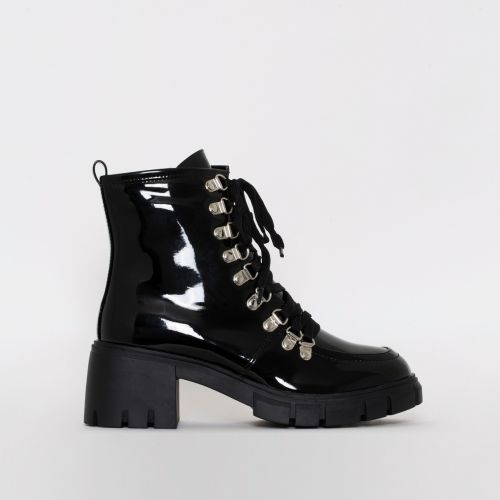 Bryony Black Patent Lace Up Chunky Ankle Boots