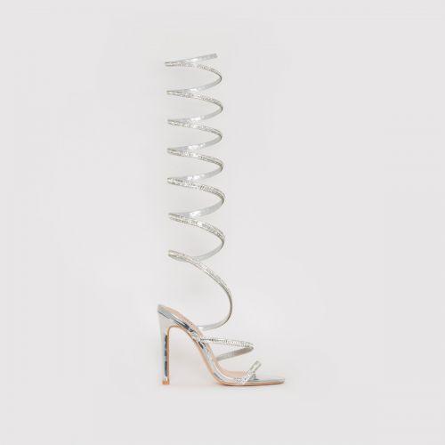 Zora Silver Diamante Spiral Heels