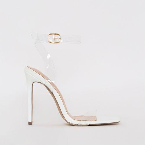 Lola White Patent Python Print Clear Stiletto Heels