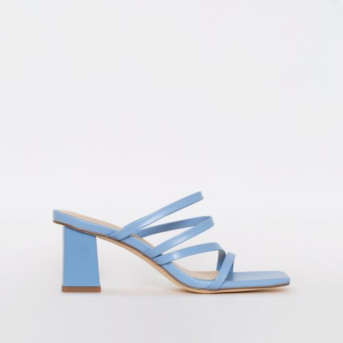 Maia Blue Strappy Mid Block Mules