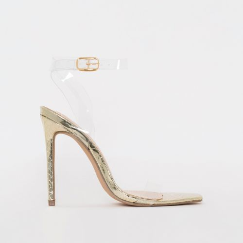 Lola Gold Python Print Clear Stiletto Heels