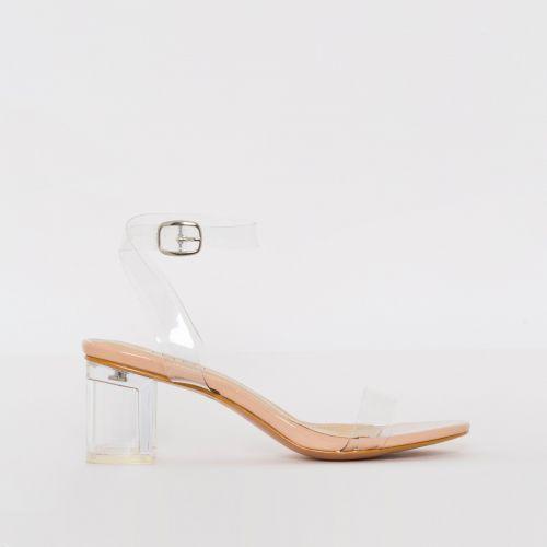 Koko Nude Patent Clear Mid Block Heels