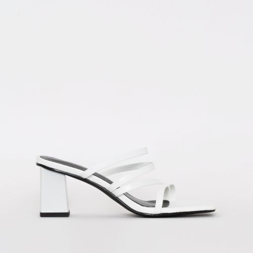 Maia White Snake Print Mid Block Mules