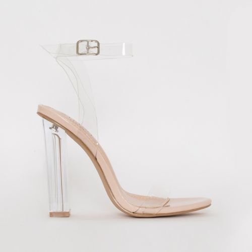 Vera Nude Patent Clear Block Heels