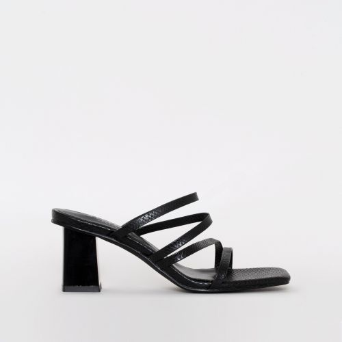 Maia Black Snake Print Strappy Mid Block Mules