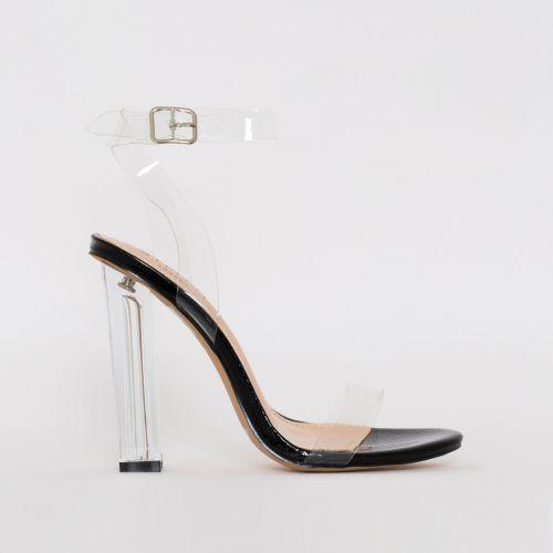 Vera Black Snake Clear Block Heels