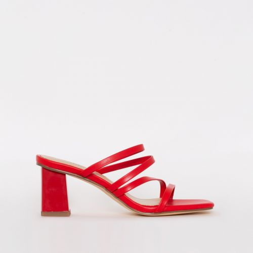 Maia Red Strappy Mid Block Mules