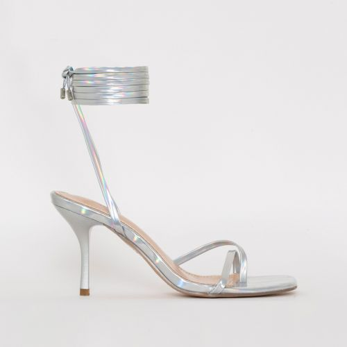 Amara Silver Iridescent Lace Up Mid Stiletto Heels