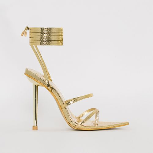 Tyler Gold Snake Print Lace Up Heels