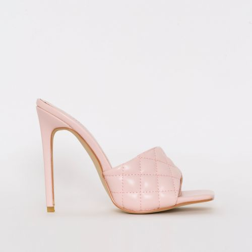 Marian Pink Quilted Mule Heels