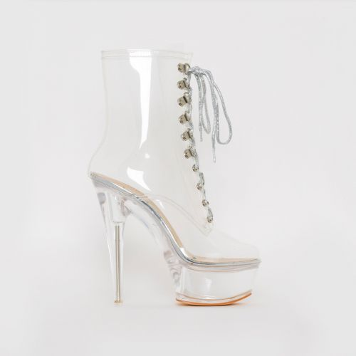 Stacey Clear Silver Platform Boots