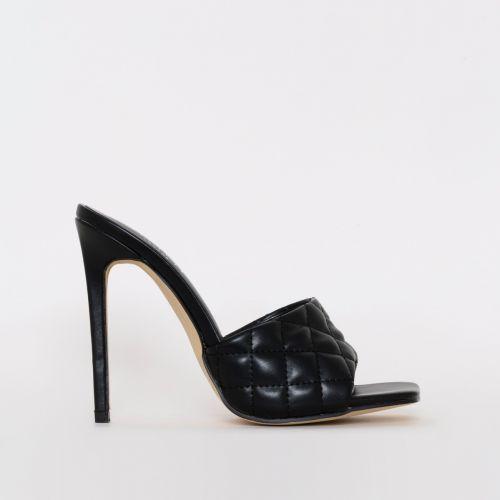 Marian Black Quilted Mule Heels