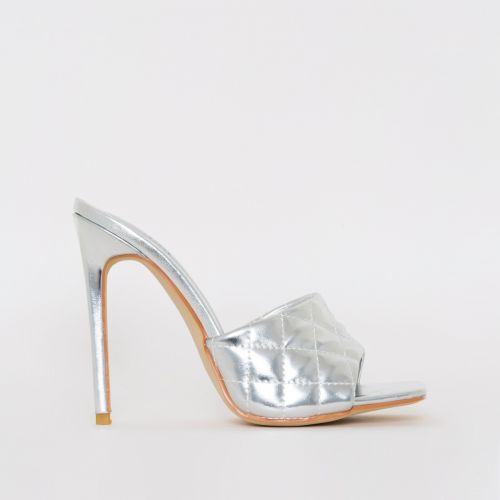 Marian Silver Quilted Mule Heels