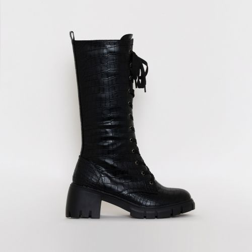 Zerrin Black Croc Print Lace Up Buckle Mid Calf Boots