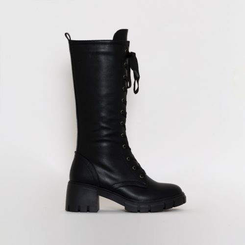 Zerrin Black PU Lace Up Buckle Mid Calf Boots