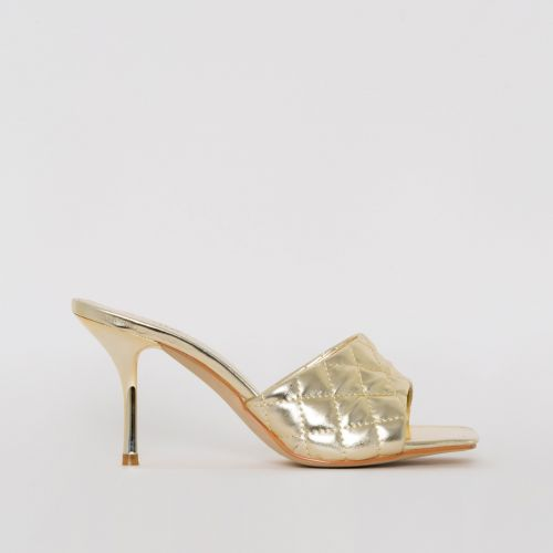 Farris Light Gold Quilted Mid Stiletto Mules