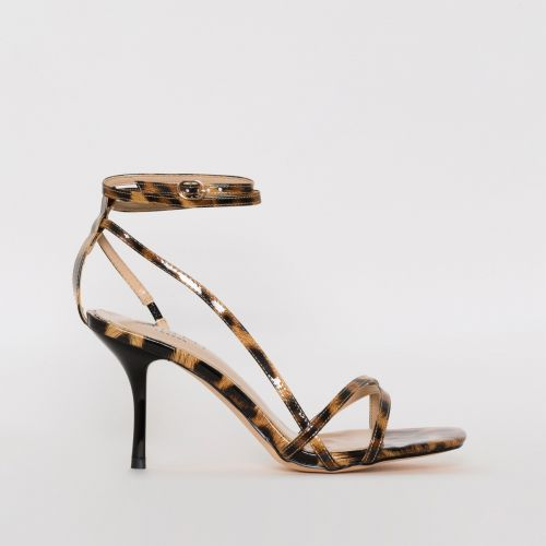 Kimberley Leopard Patent Print Strappy Mid Stiletto Heels