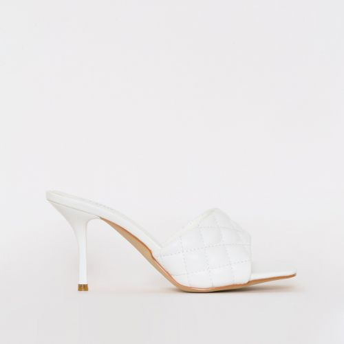 Farris White Quilted Mid Stiletto Mules