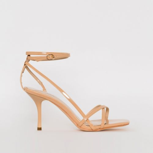 Kimberley Nude Patent Strappy Mid Stiletto Heels