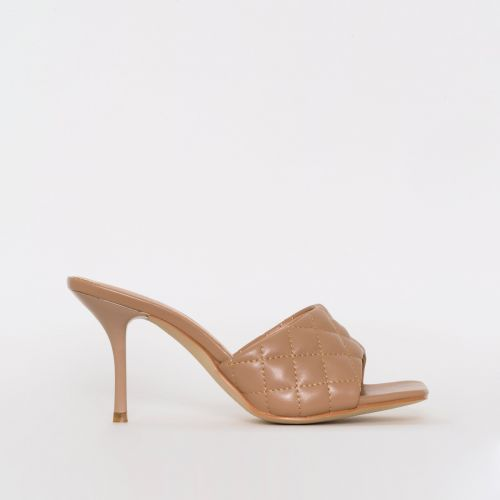 Farris Nude Quilted Mid Stiletto Mules