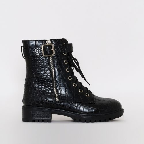 Meji Black Croc Print Lace Up Flat Ankle Boots