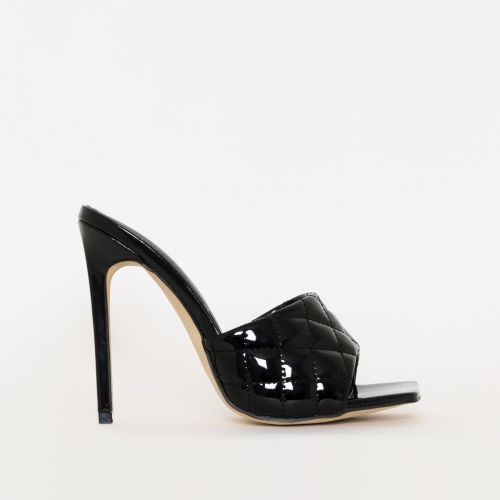 Marian Black Patent Quilted Mule Heels