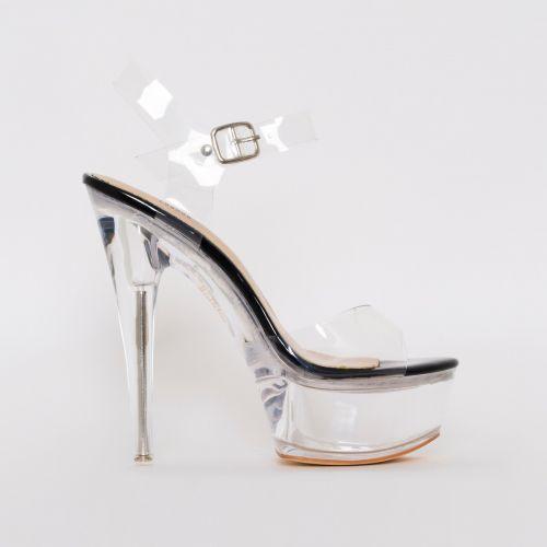 Remy Black Patent Clear Platform Heels