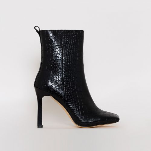 Burra Black Croc Print Stiletto Ankle Boots